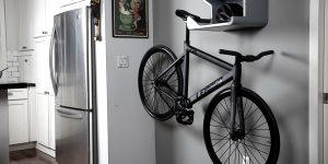 オシャレな収納スペース付きバイクラック「SHELFIE」